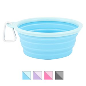 Prima Pets Collapsible Silicone Travel Dog & Cat Bowl with Carabiner, Aqua, 5-cup