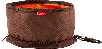 Alfie Pet Collapsible Fabric Travel Dog Bowl, Brown, 6.25-cup, 2 count