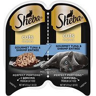 Sheba Perfect Portions Multipack Tuna and Shrimp Entrée Cat Food Trays, 2.6-oz, case of 24 twin-packs