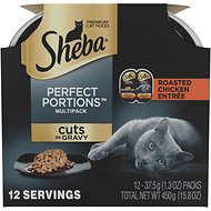 Sheba Perfect Portions  Cuts in Gravy Roasted Chicken Entrée Cat Food Trays, 1.3 oz, case of 12