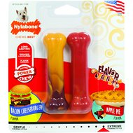 Nylabone DuraChew Flavor Frenzy Bacon Cheeseburger & Apple Pie Flavored Bone Dog Toys, Regular