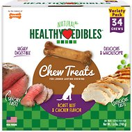 Nylabone Healthy Edibles Petite Roast Beef & Chicken Flavored Variety Pack Dog Treats, 34 count