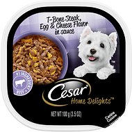 Cesar Home Delights T-Bone Steak Flavor With Egg And Cheese Dog Food Trays,  3.5-oz, case of 24