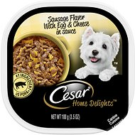 Cesar Home Delights Sausage Flavor with Egg & Cheese in Gravy Dog Food Trays,  3.5-oz, case of 24