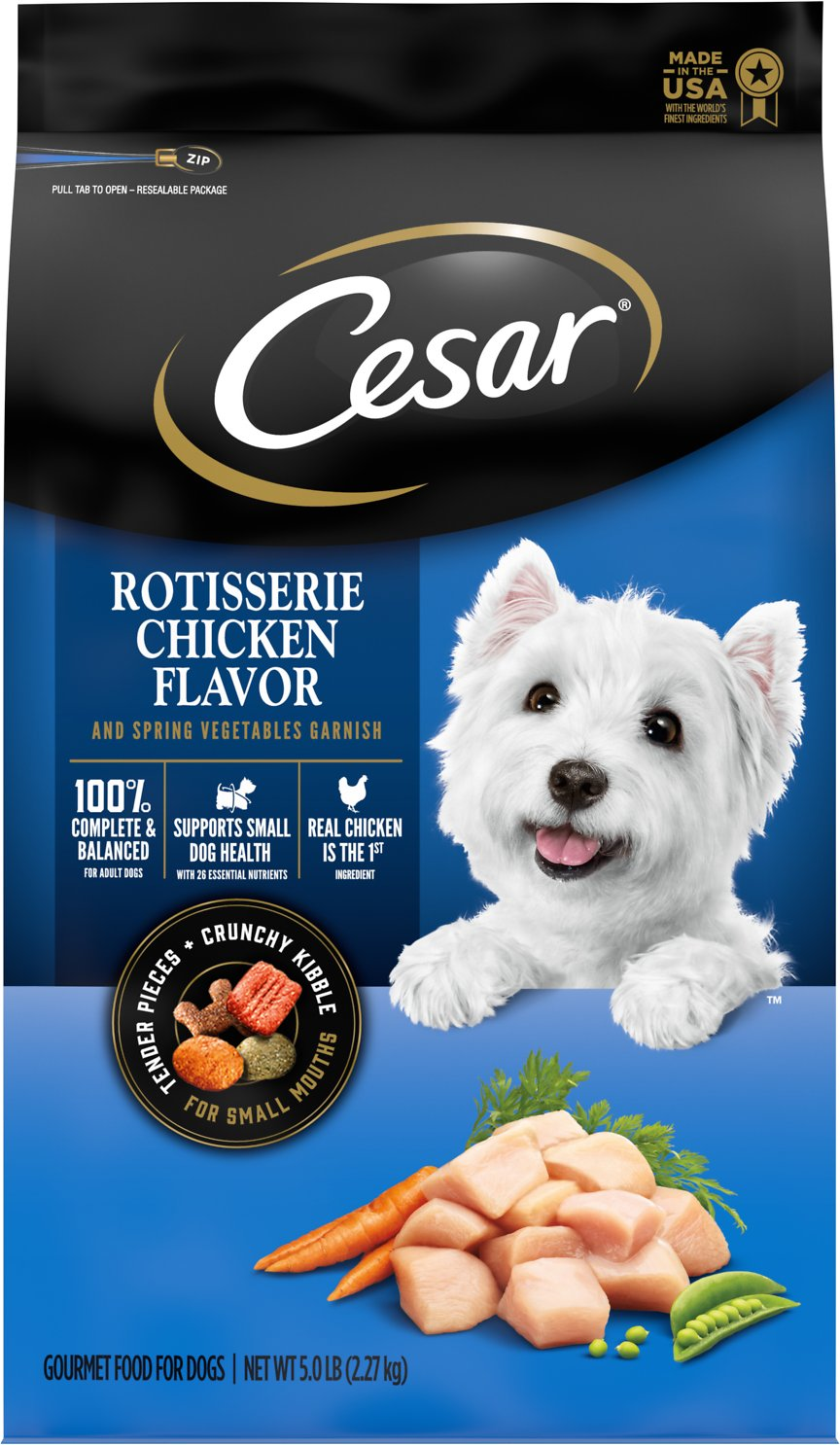 White Dog On Cesar Dog Food