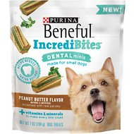 Purina Beneful IncrediBites for Small Dogs Dental Minis Peanut Butter Flavor Dog Treats, 7-oz bag