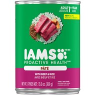 Iams ProActive Health Adult With Beef & Rice Pate Canned Dog Food, 13-oz, case of 6