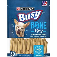 Busy Bone with Real Meat Tiny Dog Treats, 30 count