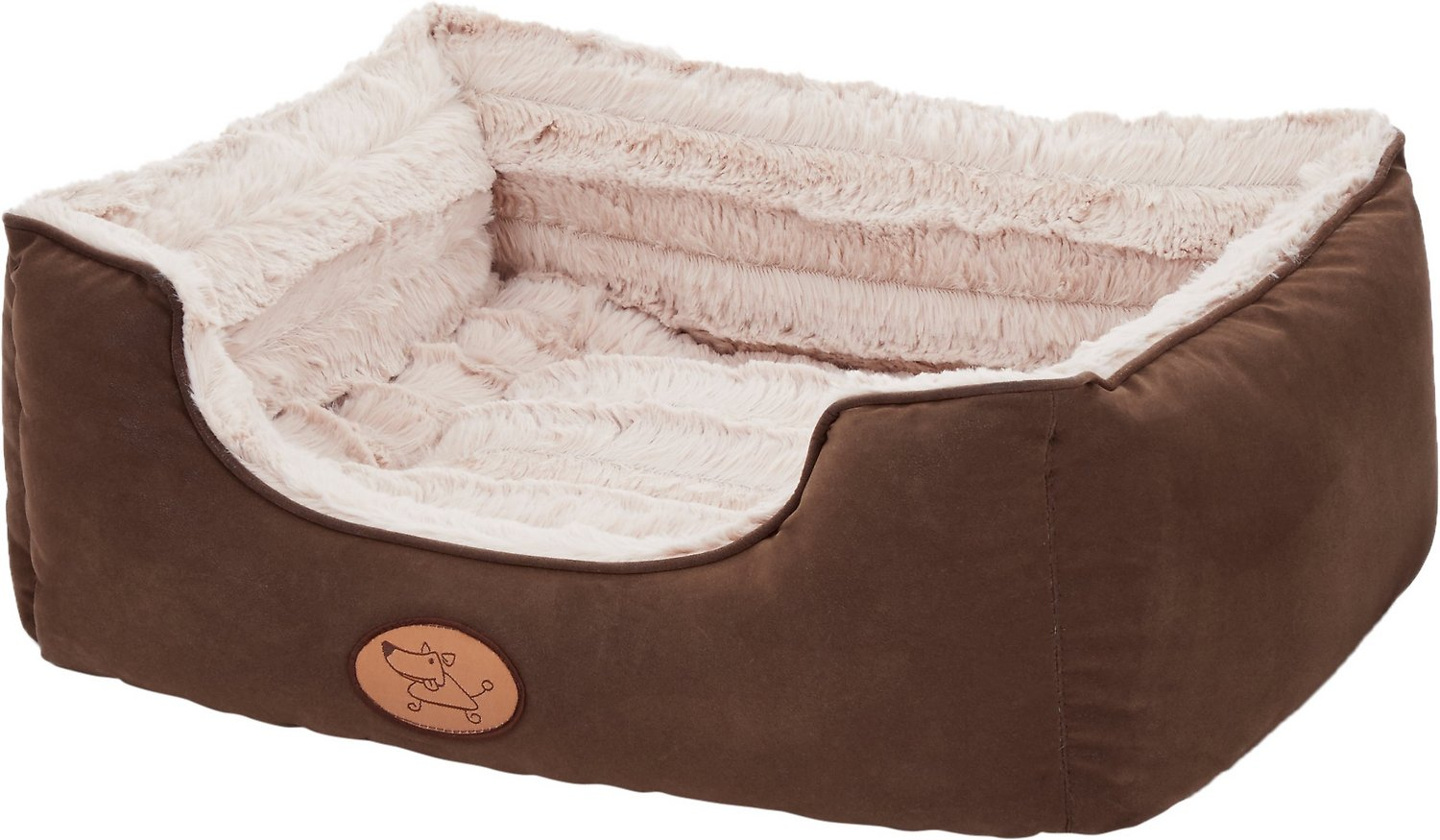 Best Pet Supplies Faux Leather Square Pet Bed, Small