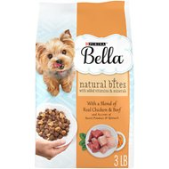 Purina Bella Natural Bites with Real Chicken & Beef & Accents of Sweet Potatoes & Spinach Small Breed Dry Dog Food, 3-lb bag