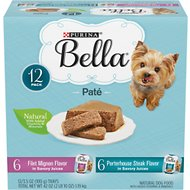 Purina Bella Filet Mignon & Porter House Steak Flavor Variety Pack Small Breed Dog Food, 3.5-oz, case of 12