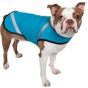 Pet Life Multi-Purpose Protective Shell Dog Coat, Blue, Large; **Remember to measure your pet for the paw-fect fit.** The Pet Life Multi-Purpose Protective Shell Dog Coat is a neoprene jacket made for every season and use! The unique material can be used for warmth in the winter, and even layered under their favorite sweater or coat for extra coziness. In the summer, it functions as a breathable wetsuit or rash guard to protect them against the sun's rays. Also great for diabetic dogs that need to shed a few pounds or pets recovering from surgery, the flexible fabric and belly and neck fuzzy fastener closures will keep your dog comfortable and in-line with the latest fashion trends.
