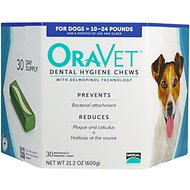 OraVet Dental Hygiene Chews for Dogs, 10-24 lbs, 30 count