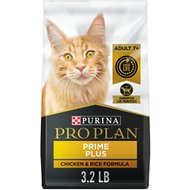 Purina Pro Plan Prime Plus Adult 7+ Chicken & Rice Formula Dry Cat Food, 3.2-lb bag