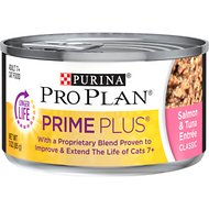 Purina Pro Plan Prime Plus Adult 7+ Salmon & Tuna Entree Classic Canned Cat Food, 3-oz, case of 24