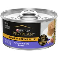 Purina Pro Plan Prime Plus Adult 7+ Turkey & Giblets Entree Classic Canned Cat Food, 3-oz, case of 24