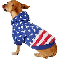 Zack & Zoey Distressed American Flag Dog & Cat Hoodie, X-Small