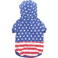 Zack & Zoey Distressed American Flag Dog & Cat Hoodie, Small/Medium