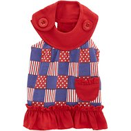 Zack & Zoey Patriotic Pooch Patchwork SPF Dog Dress, XX-Small
