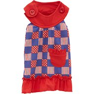 Zack & Zoey Patriotic Pooch Patchwork SPF Dog Dress, X-Small