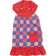 Zack & Zoey Patriotic Pooch Patchwork SPF Dog Dress, Small