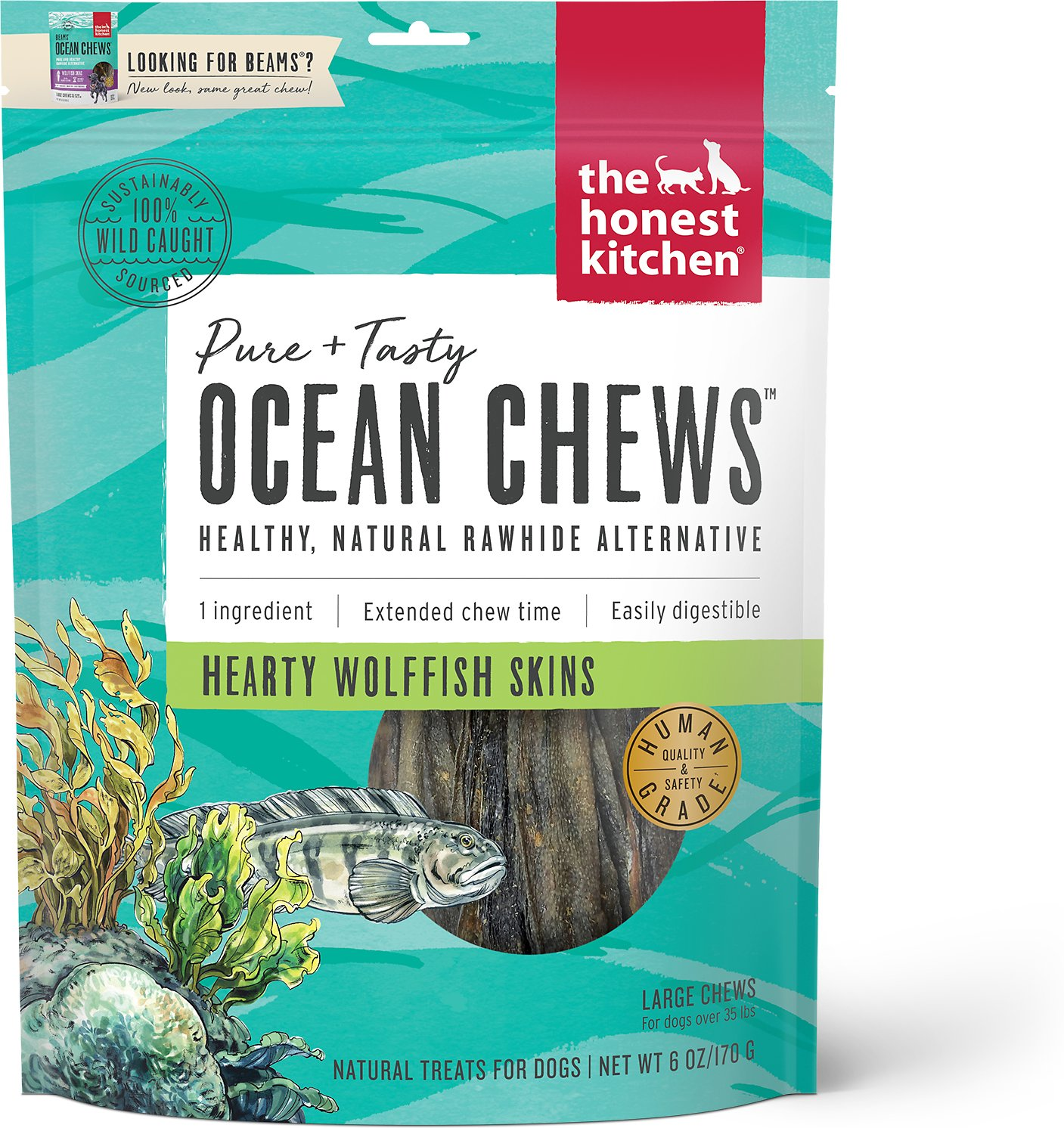 The Honest Kitchen Beams Ocean Chews Wolfish Skins Dehydrated Dog ...