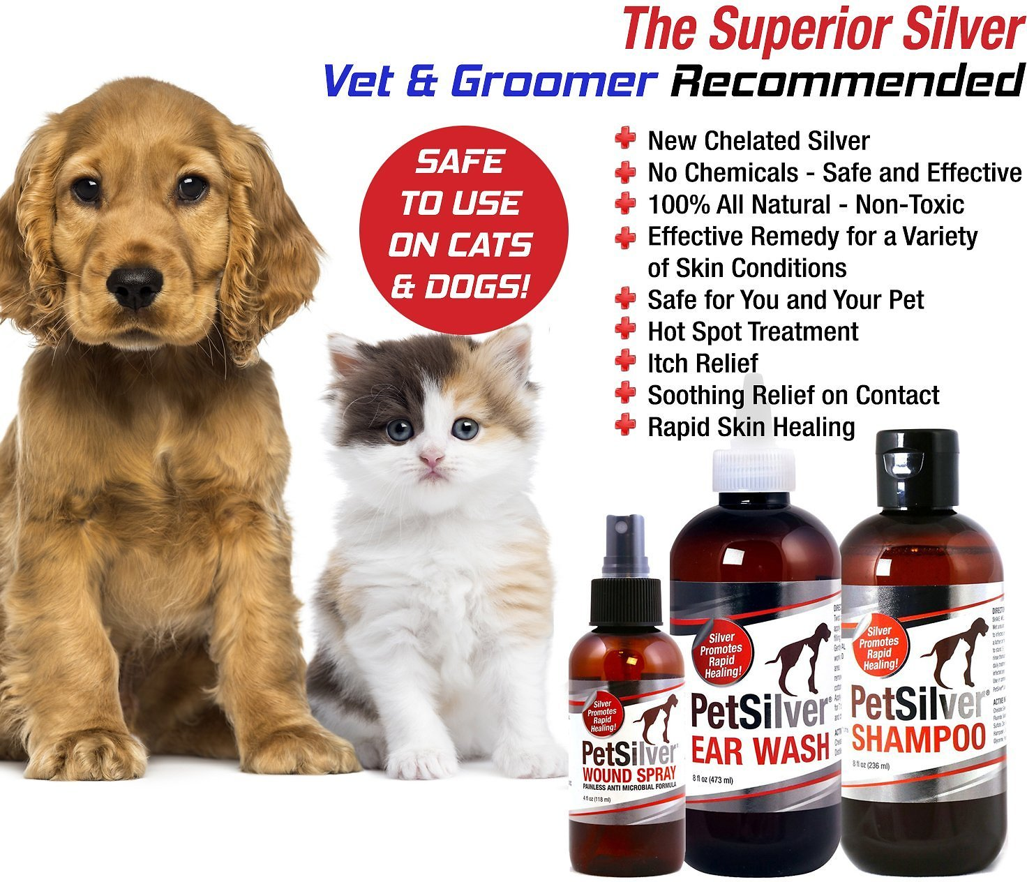 Petsilver Painless Antimicrobial Dog Cat Wound Spray  Oz Bottle