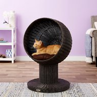The Refined Feline Kitty Ball Cat Bed, Espresso