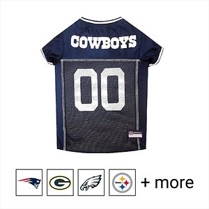 """Pets First NFL Dog & Cat Mesh Jersey, Dallas Cowboys, Large; **Remember to measure your pet for the paw-fect fit.** Let your four-legged mascot show some love for her favorite football player with the Pets First NFL Mesh Dog & Cat Jersey. She'll be ready for game day in this jersey sporting the official colors and name of the team you choose. Made from 100% satin and breathable poly mesh, this jersey also features woven trim on the neck and sleeves for a comfortable, tailored fit so she never breaks a sweat during those big plays. The NFL """"property of"""" jock tag on the back allows you to add a touch of style and personalization, because win or lose, she'll still be your MVP—Most Valuable Pet, that is!"""
