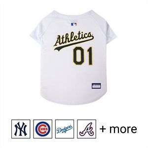 """Pets First MLB Dog & Cat Jersey, Oakland Athletics, Medium; **Remember to measure your pet for the paw-fect fit.** Calling all baseball fans! Get your personal, four-legged mascot ready for game day with the Pets First MLB Dog & Cat Jersey. Sporting your favorite team\\\'s official name and logo, this high-quality jersey is designed with the look and feel of a real pro uniform—so your pet can feel like one of the gang. The fuzzy fastener closure is adorned with four faux buttons, while the screen-printed lettering and comfortable jersey fabric completes the authentic appeal. There's even an MLB """"property of"""" jock tag on the back that allows you to add a touch of personalization. Because win or lose, it's all about the look for your favorite MVP—most valuable pet, that is!"""