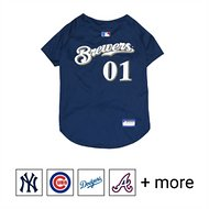 Pets First MLB Dog & Cat Jersey, Milwaukee Brewers, Large