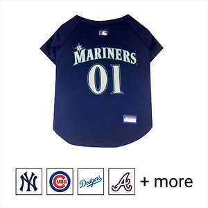 """Pets First MLB Dog & Cat Jersey, Seattle Mariners, Small; **Remember to measure your pet for the paw-fect fit.** Calling all baseball fans! Get your personal, four-legged mascot ready for game day with the Pets First MLB Dog & Cat Jersey. Sporting your favorite team\\\'s official name and logo, this high-quality jersey is designed with the look and feel of a real pro uniform—so your pet can feel like one of the gang. The fuzzy fastener closure is adorned with four faux buttons, while the screen-printed lettering and comfortable jersey fabric completes the authentic appeal. There's even an MLB """"property of"""" jock tag on the back that allows you to add a touch of personalization. Because win or lose, it's all about the look for your favorite MVP—most valuable pet, that is!"""