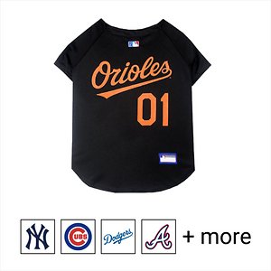 """Pets First MLB Dog & Cat Jersey, Baltimore Orioles, XX-Large; **Remember to measure your pet for the paw-fect fit.** Calling all baseball fans! Get your personal, four-legged mascot ready for game day with the Pets First MLB Dog & Cat Jersey. Sporting your favorite team\\\'s official name and logo, this high-quality jersey is designed with the look and feel of a real pro uniform—so your pet can feel like one of the gang. The fuzzy fastener closure is adorned with four faux buttons, while the screen-printed lettering and comfortable jersey fabric completes the authentic appeal. There's even an MLB """"property of"""" jock tag on the back that allows you to add a touch of personalization. Because win or lose, it's all about the look for your favorite MVP—most valuable pet, that is!"""