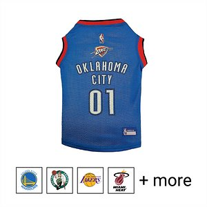 """Pets First NBA Dog & Cat Mesh Jersey, OKC Thunder, Medium; **Remember to measure your pet for the paw-fect fit.** Calling all basketball fans, get your four-legged mascot ready for game day with the Pets First NBA Mesh Dog & Cat Jersey. Sporting the official team name, logo, and colors of the team you choose, this high-quality jersey is made with breathable mesh so he never has to break a sweat during those close calls. The woven trim and screen printing looks just like what the pros wear, while the NBA """"property of"""" jock tag on the back allows you to add a touch of personalization. Because win or lose, it's all about the look for your favorite MVP—most valuable pet, that is!"""
