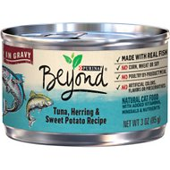 Purina Beyond Tuna, Herring & Sweet Potato Recipe in Gravy Canned Cat Food, 3-oz, case of 12