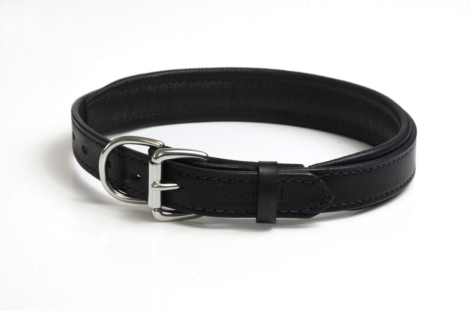 perri39s black padded leather dog collar black large With perri dog collar