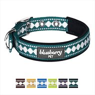 Blueberry Pet 3M Reflective Pattern Dog Collar, Teal Blue, Medium