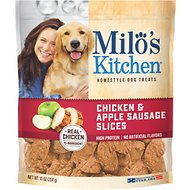 Milo's Kitchen Chicken & Apple Sausage Slices Dog Treats, 10-oz