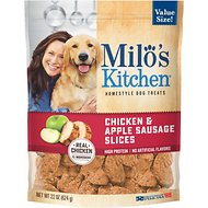 Milo's Kitchen Chicken & Apple Sausage Slices Dog Treats, 22-oz