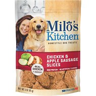 Milo's Kitchen Chicken & Apple Sausage Slices Dog Treats, 3-oz