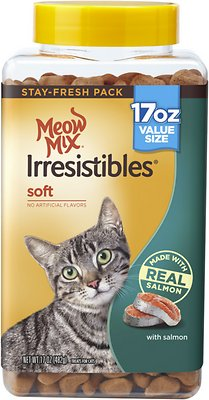 Soft Cat Food >> Meow Mix Irresistibles Soft Salmon Cat Treats 17 Oz Cannister