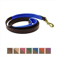 Perri's Havana Padded Leather Dog Leash, Blue, Small