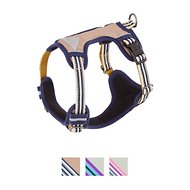 Blueberry Pet 3M Reflective Multi-Colored Stripe Padded Dog Harness, Olive & Blue-Gray, Small