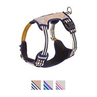 Blueberry Pet 3M Reflective Multi-Colored Stripe Padded Dog Harness, Olive & Blue-Gray, Medium