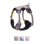 Blueberry Pet 3M Reflective Multi-Colored Stripe Padded Dog Harness, Olive & Blue-Gray, Large