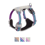 Blueberry Pet 3M Reflective Multi-Colored Stripe Padded Dog Harness, Violet & Celeste, Medium