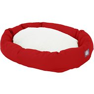 Majestic Pet Sherpa Bagel Dog Bed, Red, 40-in