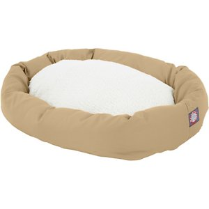 Majestic Pet Sherpa Bagel Dog Bed, Khaki, 40-in; Good mornings start with a bagel—the Majestic Pet Sherpa Bagel Dog Bed, that is. Offering your tired pup a good night's sleep, this innovative bed features 360-degrees of pure comfort. The side bolster is made of a poly-cotton twill that gives him a place to rest his head in any direction, and the center is topped with Sherpa for the ultimate in coziness. It's all stuffed with premium fiberfill that allows him to drift off and dream of chasing cars and eating bones, with a non-skid bottom that will stay put even if he takes a running leap into dreamland.