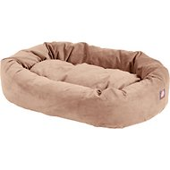 Majestic Pet Suede Bagel Dog Bed, Stone, 40-in