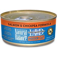 Natural Balance L.I.D. Limited Ingredient Diets Indoor Grain-Free Salmon & Chickpea Formula Wet Cat Food, 5.5-oz, case of 24